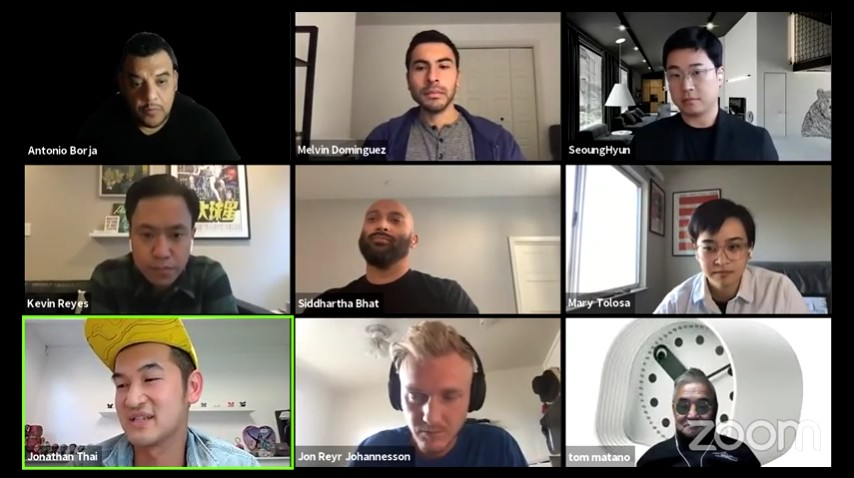 The participants of the IND Alumni Roundtable webinar in a Zoom window grid.